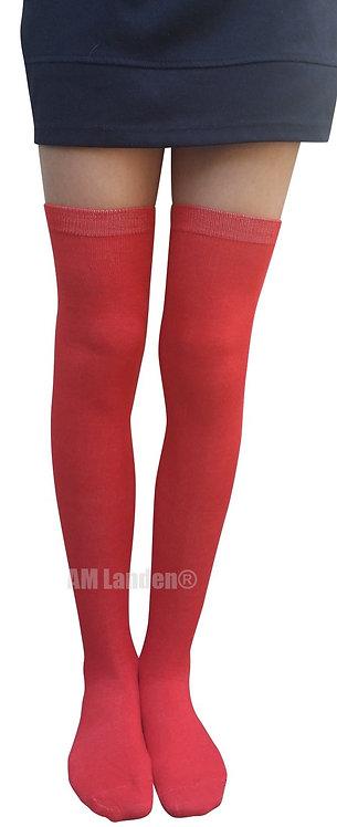 AM Landen Over-Knee Cotton Socks(Red)