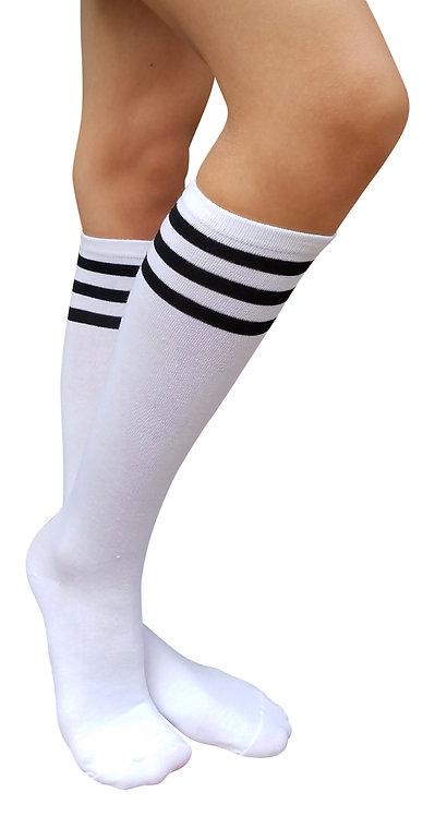 Ladies's Cotton Knee-High Socks(White/Bk Stripe)