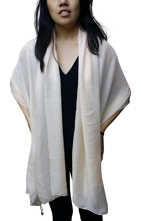 Silk-Blend Bridal Cocktail Shawl(Beige)