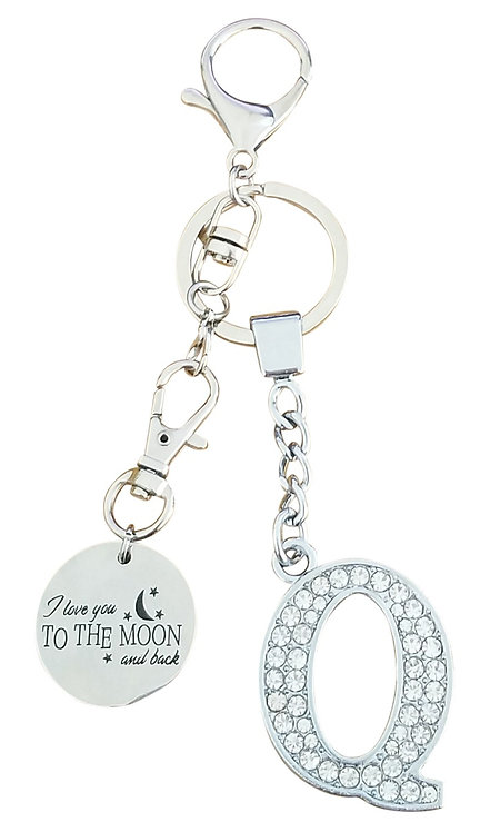 I love you to the moon and back Rhinestone Letter Q Key-chain