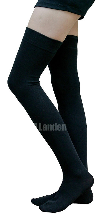 AM Landen Cotton Thigh-Highs Socks(Black)XL-Wide