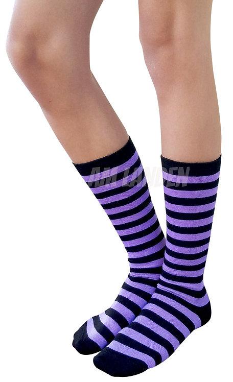 Ladies's Cotton Mid-Calf Socks(Purple/Bk Stripe)