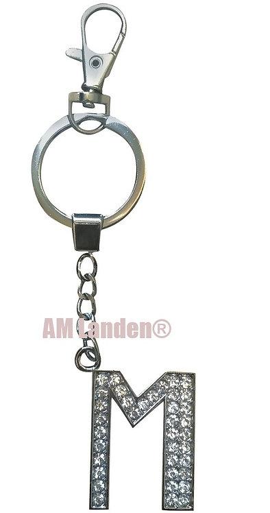 "Rhinestone Bling Crystal Alphabet ""M"" Key-chain"