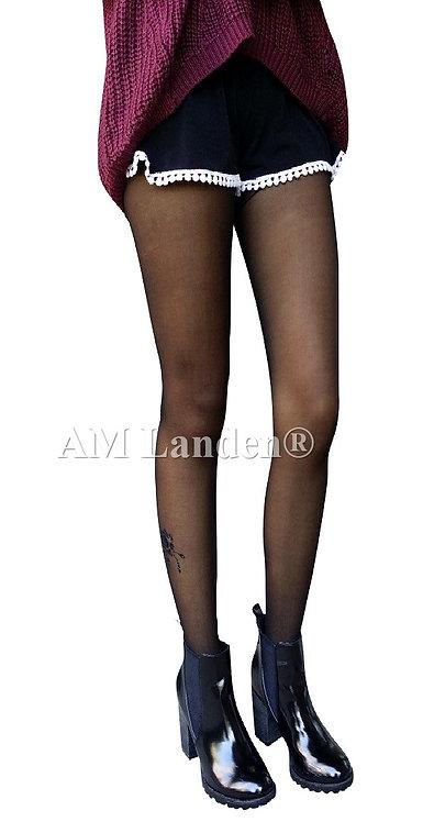 Summer Mock Tatoo Pantyhose(Black/2 Roses)