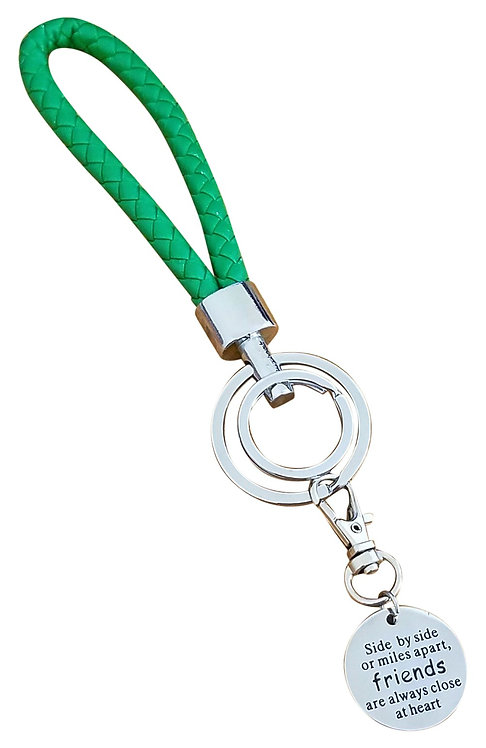I Love You Green Synthetic Braided Leather Key-Chain