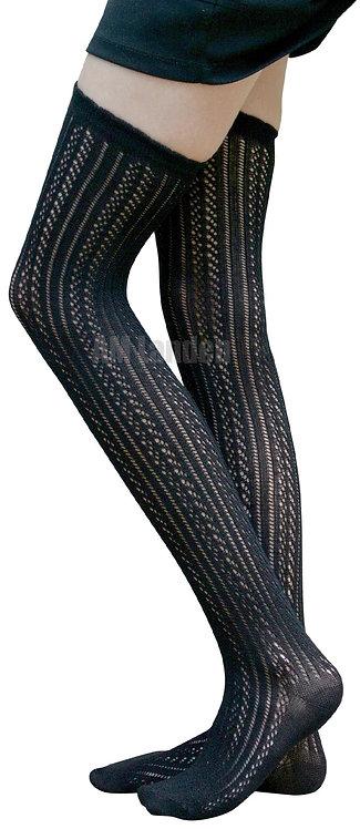AM Landen Cotton Thigh-Highs Knit Socks(Black#A)