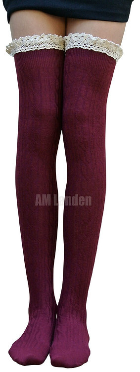 AM Landen Cotton Lace Trim Thigh-Highs (Burgundy)