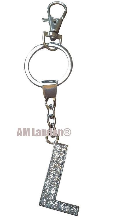 """Rhinestone Bling Crystal Alphabet """"L"""" Key-chain"""