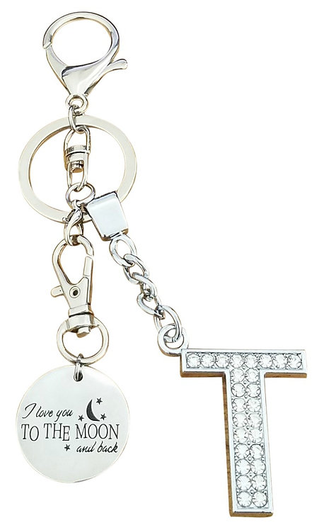 I love you to the moon and back Rhinestone Letter T Key-chain