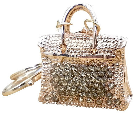 Gold H Rhinestone Key-chain Bling Handbag Purse Charm