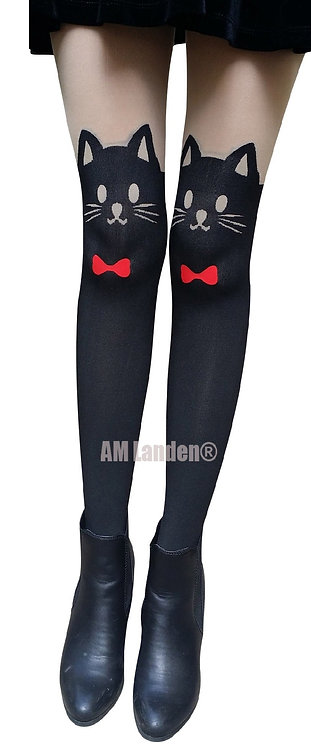 AM Landen Cat Red Bow Mock Thigh-Highs Pantyhose