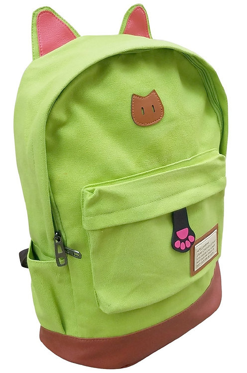 AM Landen Super Cute Green Canvas CAT Ears Backpack