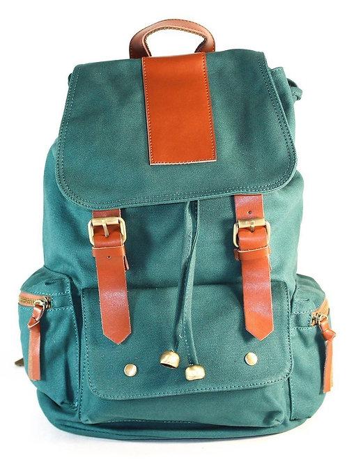 Green Canvas Backpack School Bag Travel Bag