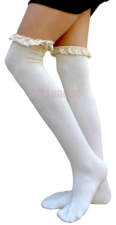 Ladies's Lace Trim Over-Knee Socks(Off-White)