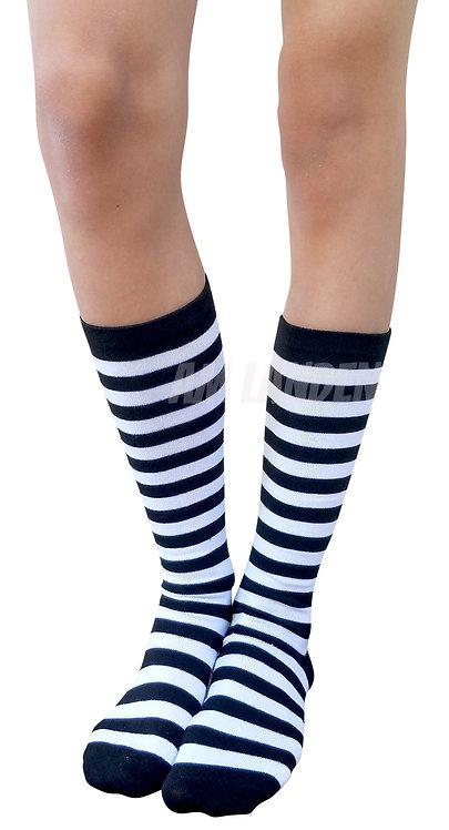 Ladies's Cotton Mid-Calf Socks(White/Bk Stripe)