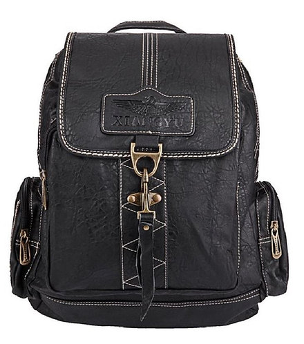 Synthetic Leather Backpack,Leisure Bags(Black)