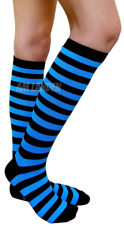 Ladies's Cotton Knee-High Socks(Blue/Bk Stripe)