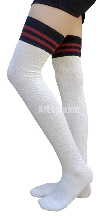 AM Landen Cotton Thigh-Highs Socks(White/Stripe)