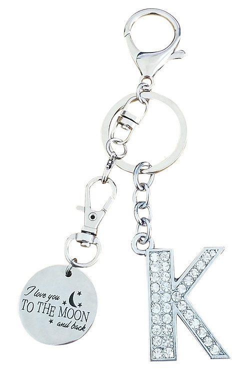 I love you to the moon and back Rhinestone Letter K Key-chain