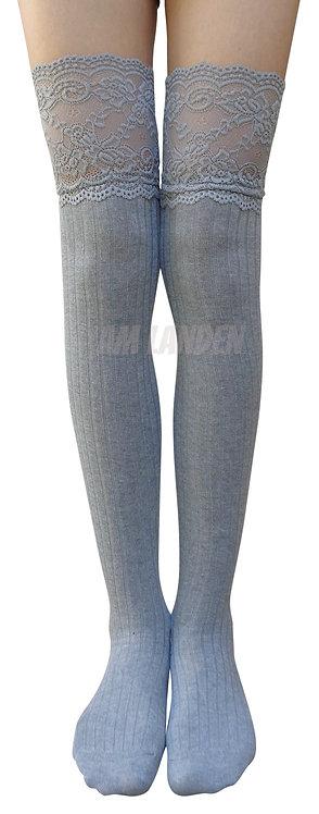 AM Landen Cotton Thigh-Highs Socks(Gray/Lace)