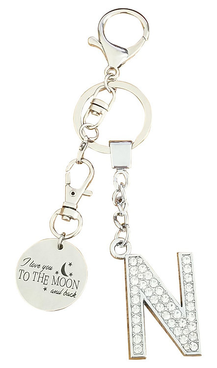 I love you to the moon and back Rhinestone Letter N Key-chain