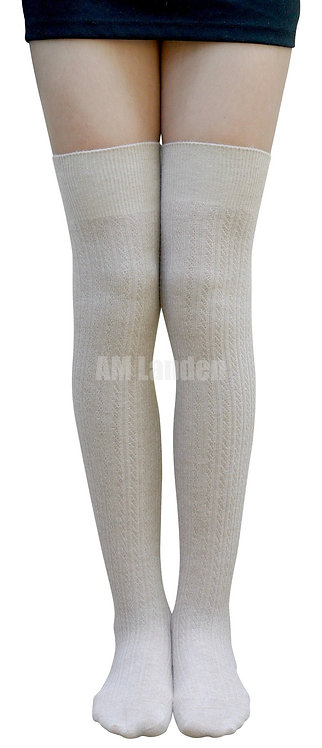Over-Knee Highs Wool Knit Stripe Socks(Beige)