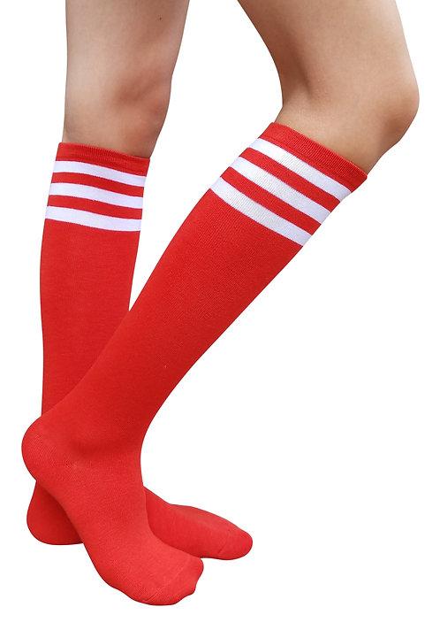 Ladies's Cotton Knee-Highs Socks(Red/White Stripe)