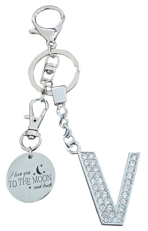 I love you to the moon and back Rhinestone Letter V Key-chain