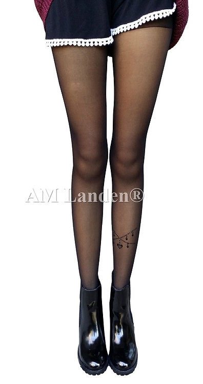 Summer Mock Tatoo Pantyhose(Black/Heart Chain)