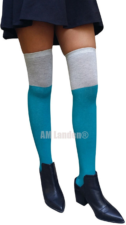 Two Tone Over-Knee Cotton Socks(Teal/Gray)