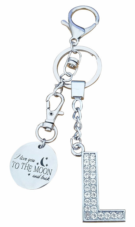 I love you to the moon and back Rhinestone Letter L Key-chain