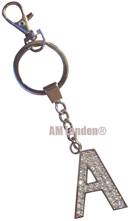 """Rhinestone Bling Crystal Alphabet """"A"""" Key-chain"""