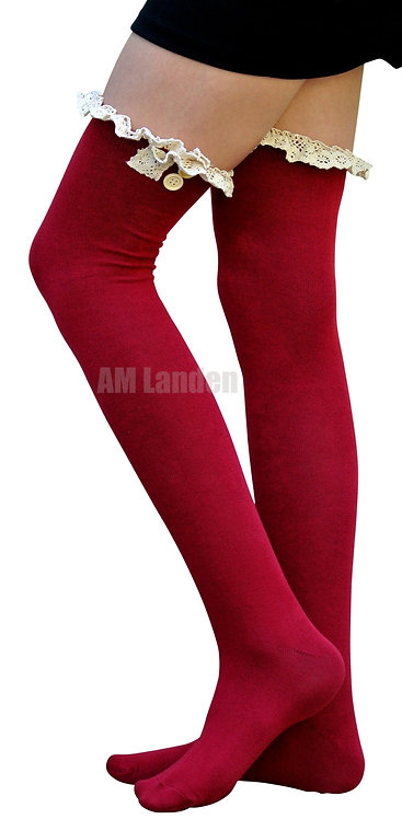 Ladies's Cotton Lace Trim Over-Knee Socks(Red)