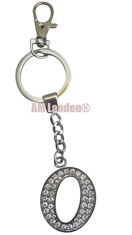 """Rhinestone Bling Crystal Alphabet """"O"""" Key-chain"""