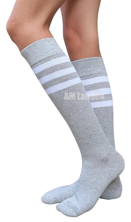 Ladies's Cotton Sport Knee-Highs Socks(Gray)