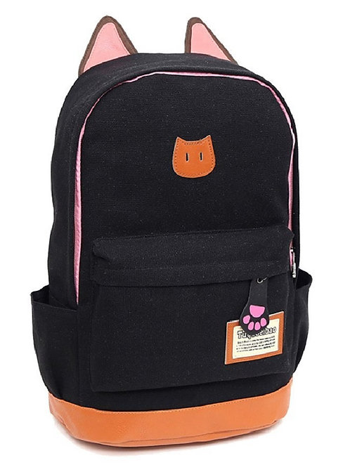 Light Weight Canvas CAT Ears Backpacks(Black)
