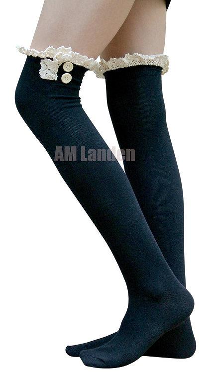 Ladies's Cotton Lace Trim Over-Knee Socks (Black)