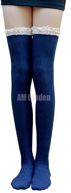 AM Landen Cotton Lace Trim Thigh-Highs (Blue)