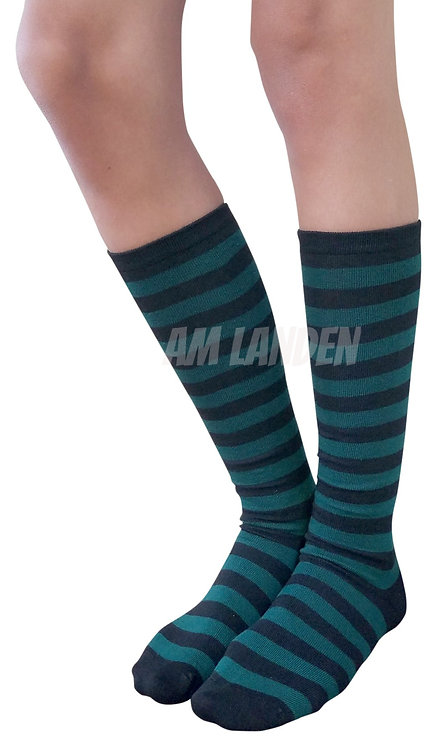 Ladies's Cotton Mid-Calf Socks(Green/Bk Stripe)