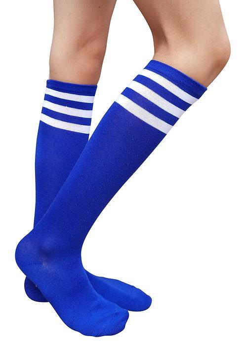 Ladies's Cotton Knee-High Socks(Blue/White Stripe)