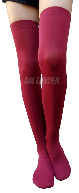 MAROON Thigh/Over Knee High Solid Opaque Socks