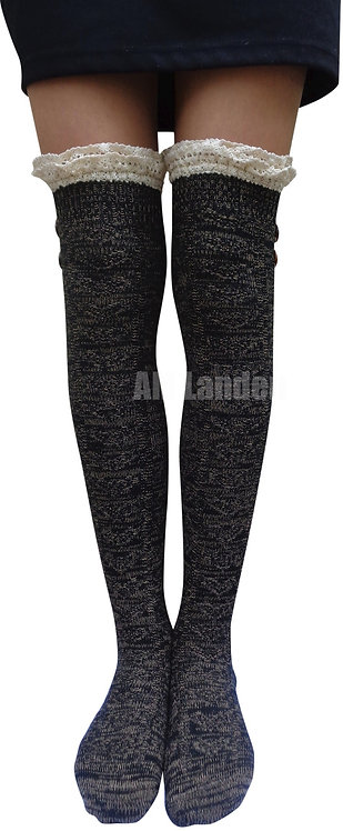 Over-Knee Highs Double Lace Wool Knit Socks(Black)