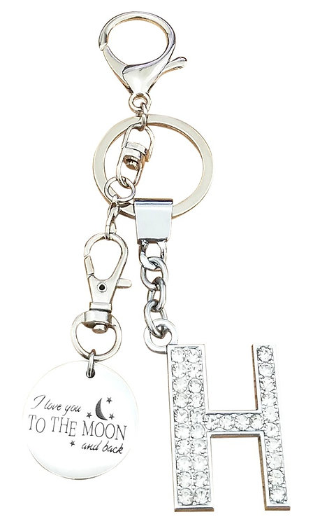 I love you to the moon and back Rhinestone Alphabet H Letter H Key chain