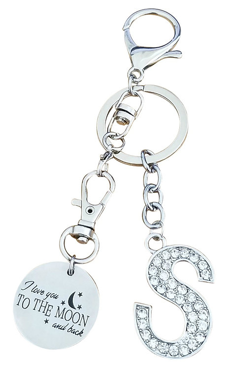 I love you to the moon and back Rhinestone Letter S Key-chain