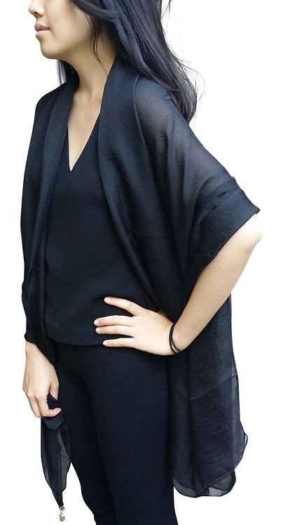 Silk-Blend Bridal Cocktail Evening Shawls(Black)