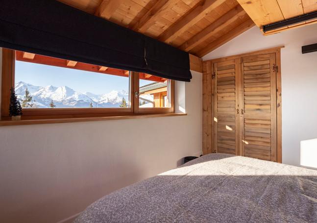 Chambre bleue vue Mont Blanc