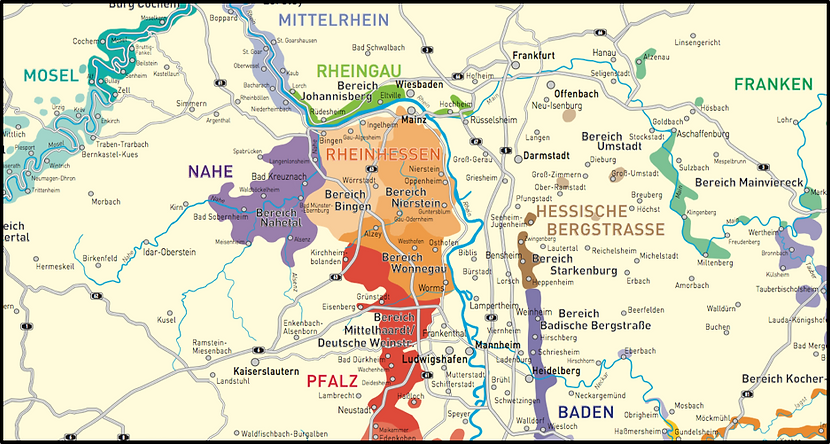 Map of Rheinhessen and Hesische Bergstrasse