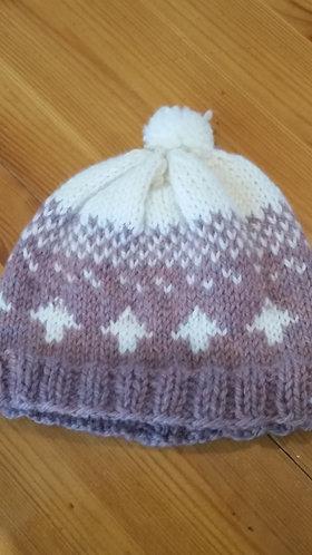 Mauve & White Baby Hat
