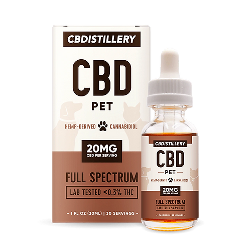 600mg Full Spectrum Pet CBD Oil 20mg Per Serving - 1oz Tincture