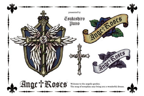 Tatoo Sticker Ange†Roses logo Blue
